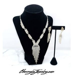 Cherryl's Jewelry - Rhinestone Cascade Formal Necklace Set